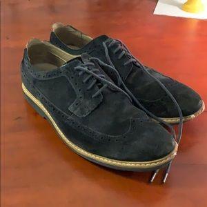 Clarks Blue Suede Wingtip Dress Shoes